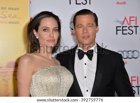 "LOS ANGELES, CA - NOVEMBER 5, 2015: Actress/writer/director Angelina Jolie & actor husband Brad Pitt at the AFI Festival premiere of their movie ""By the Sea"" at the TCL Chinese Theatre - stock photo"