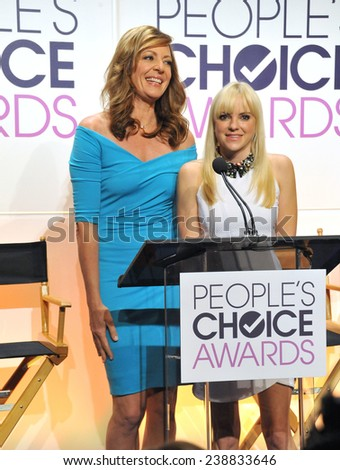 LOS ANGELES, CA - NOVEMBER 4, 2014: Actresses Allison Janney & Anna Faris at the nominations announcement for the 2015 People's Choice Awards at the Paley Center for Media, Beverly Hils.  - stock photo