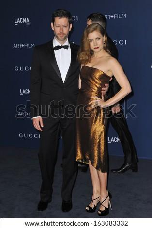 LOS ANGELES, CA - NOVEMBER 2, 2013: Amy Adams & husband Darren Le Gallo at the 2013 LACMA Art+Film Gala at the Los Angeles County Museum of Art.  - stock photo