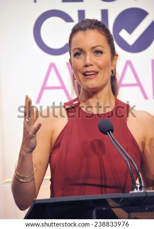 LOS ANGELES, CA - NOVEMBER 4, 2014: Bellamy Young at the nominations announcement for the 2015 People's Choice Awards at the Paley Center for Media, Beverly Hils.  - stock photo