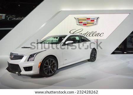 Los Angeles, CA - November 19, 2014: Cadillac ATS Coupe car on display on display at the LA  Auto Show - stock photo