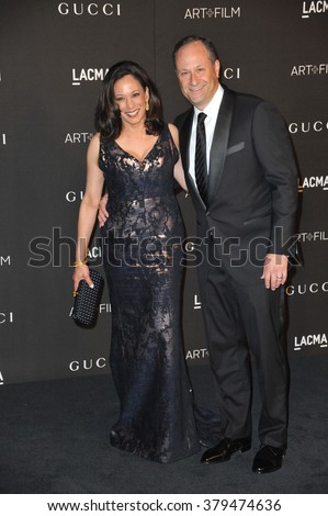 LOS ANGELES, CA - NOVEMBER 1, 2014: California Attorney General Kamala Harris and Douglas Emhoff at the 2014 LACMA Art+Film Gala at the Los Angeles County Museum of Art.