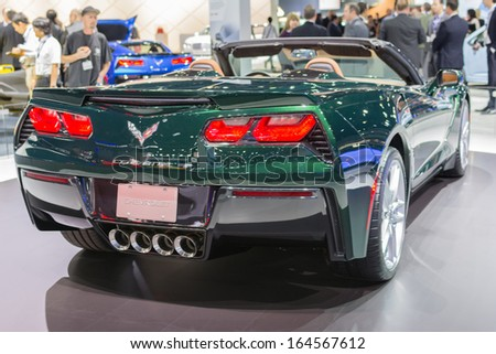 LOS ANGELES, CA. NOVEMBER 20:Chevrolet Corvette Stingray Convertible car on display at the LA Auto Show LA Auto Show at the L.A. Convention Center on November 20, 2013 in Los Angeles, CA - stock photo