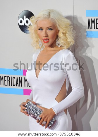 LOS ANGELES, CA - NOVEMBER 24, 2013: Christina Aguilera at the 2013 American Music Awards at the Nokia Theatre, LA Live.  - stock photo