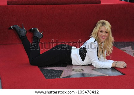 LOS ANGELES, CA - NOVEMBER 8, 2011: Columbian singer Shakira on Hollywood Boulevard where she was honored with the 2,454th star on the Hollywood Walk of Fame. November 8, 2011  Los Angeles, CA - stock photo