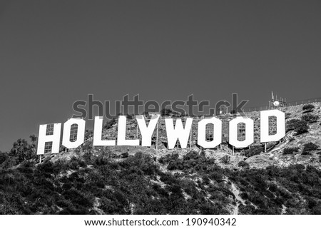 LOS ANGELES, CA - NOVEMBER 19, 2013: Hollywood sigh white letters on Mount Lee seen on November 19, 2013 in Los Angeles, California. Black and white version - stock photo