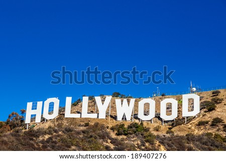 LOS ANGELES, CA - NOVEMBER 19, 2013: Hollywood sign white letters located on Mount Lee on November 19, 2013 in Los Angeles, California, USA - stock photo