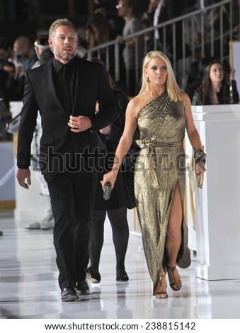 """LOS ANGELES, CA - NOVEMBER 17, 2014: Jessica Simpson & husband Eric Johnson at the Los Angeles premiere of """"The Hunger Games: Mockingjay Part One"""" at the Nokia Theatre LA Live.  - stock photo"""