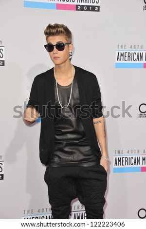 LOS ANGELES, CA - NOVEMBER 18, 2012: Justin Bieber at the 40th Anniversary American Music Awards at the Nokia Theatre LA Live. - stock photo