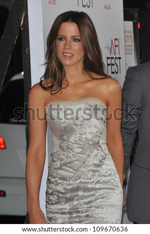 "LOS ANGELES, CA - NOVEMBER 3, 2009: Kate Beckinsale at the world premiere of her new movie ""Everybody's Fine"" at Grauman's Chinese Theatre, Hollywood."