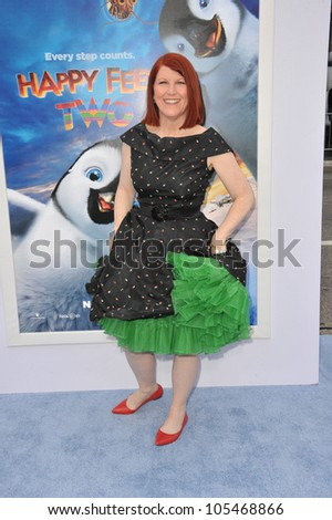 """LOS ANGELES, CA - NOVEMBER 13, 2011: Kate Flannery at the world premiere of """"Happy Feet Two"""" at Grauman's Chinese Theatre, Hollywood. November 13, 2011  Los Angeles, CA - stock photo"""