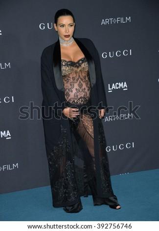 LOS ANGELES, CA - NOVEMBER 7, 2015: Kim Kardashian West at the 2015 LACMA Art+Film Gala at the Los Angeles County Museum of Art - stock photo