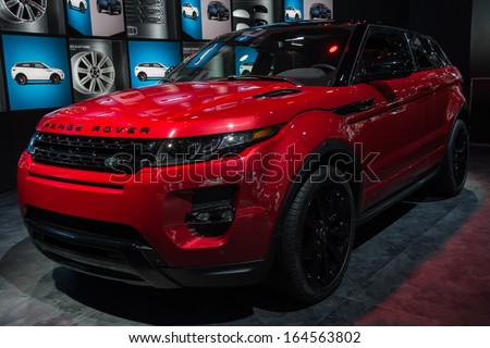 LOS ANGELES, CA. NOVEMBER 20: Land Rover Range Rover Evoque car on display at the LA Auto Show at the L.A. Convention Center on November 20, 2013 in Los Angeles, CA  - stock photo