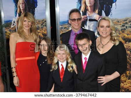 "LOS ANGELES, CA - NOVEMBER 19, 2014: Laura Dern & author Cheryl Strayed & family at the Los Angeles premiere of  their movie ""Wild"" at the Samuel Goldwyn Theatre, Beverly Hills."