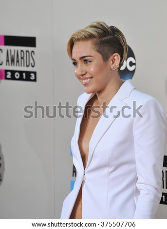 LOS ANGELES, CA - NOVEMBER 24, 2013: Miley Cyrus at the 2013 American Music Awards at the Nokia Theatre, LA Live.  - stock photo