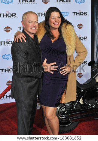 "LOS ANGELES, CA - NOVEMBER 4, 2013: Neal McDonough & wife Ruve McDonough at the US premiere of ""Thor: The Dark World"" at the El Capitan Theatre, Hollywood."