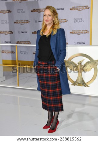 "LOS ANGELES, CA - NOVEMBER 17, 2014: Paula Malcomson at the Los Angeles premiere of her movie ""The Hunger Games: Mockingjay Part One"" at the Nokia Theatre LA Live.  - stock photo"