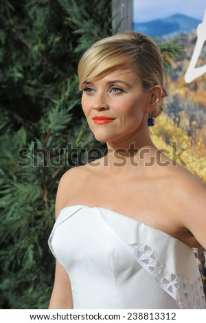 "LOS ANGELES, CA - NOVEMBER 19, 2014: Reese Witherspoon at the Los Angeles premiere of  her movie ""Wild"" at the Samuel Goldwyn Theatre, Beverly Hills.  - stock photo"