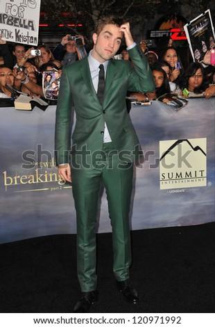 "LOS ANGELES, CA - NOVEMBER 12, 2012: Robert Pattinson at the world premiere of his movie ""The Twilight Saga: Breaking Dawn - Part 2"" at the Nokia Theatre LA Live. - stock photo"