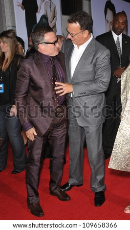"LOS ANGELES, CA - NOVEMBER 9, 2009: Robin Williams (left) & Tom Hanks at the world premiere of Williams' new movie Walt Disney's ""Old Dogs"" at the El Capitan Theatre, Hollywood. - stock photo"