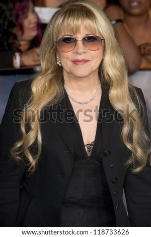 LOS ANGELES, CA - NOVEMBER 12: Singer and songwriter Steve Nicks arrives at the premiere of The Twilight Saga: Breaking Dawn - Part 2 at the Nokia Theater in Los Angeles, CA on November 12, 2012