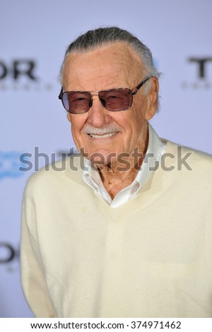 "LOS ANGELES, CA - NOVEMBER 4, 2013: Stan Lee at the US premiere of his movie ""Thor: The Dark World"" at the El Capitan Theatre, Hollywood. Picture: Paul Smith / Featureflash - stock photo"