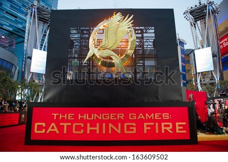 LOS ANGELES, CA - NOVEMBER 18: The entrance to the premiere of The Hunger Games: Catching Fire at the Nokia Theater in Los Angeles, CA on November 18, 2013 - stock photo