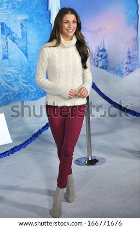"LOS ANGELES, CA - NOVEMBER 19, 2013: TV presenter Samantha Harris at the premiere of Disney's ""Frozen"" at the El Capitan Theatre, Hollywood.  - stock photo"