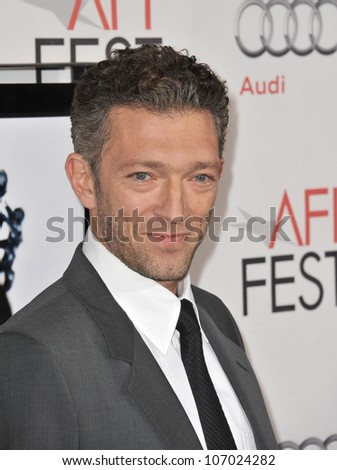 "LOS ANGELES, CA - NOVEMBER 11, 2010: Vincent Cassel at the Los Angeles premiere of his new movie ""Black Swan"" at Grauman's Chinese Theatre, Hollywood."