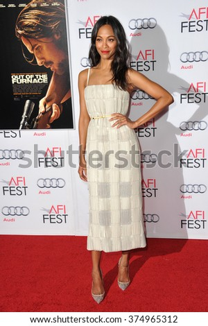 "LOS ANGELES, CA - NOVEMBER 9, 2013: Zoe Saldana at the Los Angeles premiere of her movie ""Out of the Furnace"" at the TCL Chinese Theatre, Hollywood. Picture: Paul Smith / Featureflash"