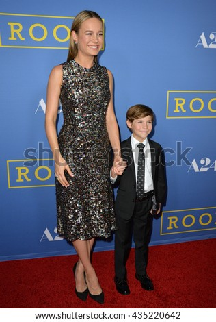 """LOS ANGELES, CA - OCTOBER 13, 2015: Actors Brie Larson & Jacob Tremblay at the Los Angeles premiere of their movie """"Room"""" at the Pacific Design Centre, West Hollywood. - stock photo"""
