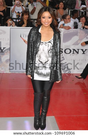 "LOS ANGELES, CA - OCTOBER 27, 2009: Brenda Song at the premiere of Michael Jackson's ""This Is It"" at the Nokia Theatre, L.A. Live. - stock photo"