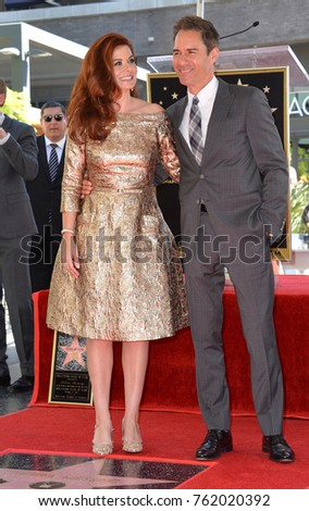 LOS ANGELES, CA - October 06, 2017: Debra Messing, Eric McCormack at the Hollywood Walk of Fame Star Ceremony honoring actress Debra Messing on Hollywood Boulevard