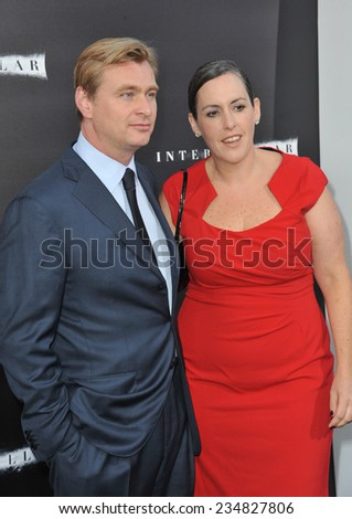 LOS ANGELES, CA - OCTOBER 26, 2014: Director Christopher Nolan & wife producer Emma Thomas at the Los Angeles premiere of his movie Interstellar at the TCL Chinese Theatre, Hollywood.  - stock photo