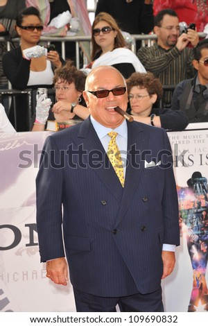 "LOS ANGELES, CA - OCTOBER 27, 2009: Frank DiLeo, Michael Jackson's manager, at the premiere of Michael Jackson's ""This Is It"" at the Nokia Theatre, L.A. Live. - stock photo"