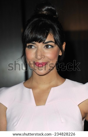 LOS ANGELES, CA - OCTOBER 28, 2014: Hannah Simone at the 25th Courage in Journalism Awards at the Beverly Hilton Hotel.  - stock photo
