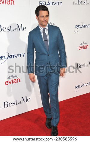 "LOS ANGELES, CA - OCTOBER 7, 2014: James Marsden at the world premiere of his movie ""The Best of Me"" at the Regal Cinemas LA Live.  - stock photo"
