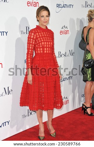 """LOS ANGELES, CA - OCTOBER 7, 2014: Michelle Monaghan at the world premiere of her movie """"The Best of Me"""" at the Regal Cinemas LA Live.  - stock photo"""