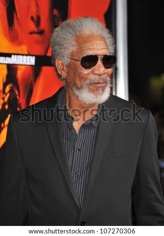 "LOS ANGELES, CA - OCTOBER 11, 2010: Morgan Freeman at the premiere of his new movie ""Red"" at Grauman's Chinese Theatre, Hollywood."