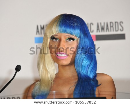 LOS ANGELES, CA - OCTOBER 11, 2011: Nicki Minaj at the nominations announcement for the 2011 American Music Awards at the JW Marriott Los Angeles at LA Live. October 11, 2011  Los Angeles, CA
