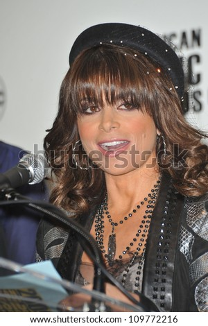LOS ANGELES, CA - OCTOBER 13, 2009: Paula Abdul at the nominations announcement for the 2009 American Music Awards at the Beverly Hills Hotel.