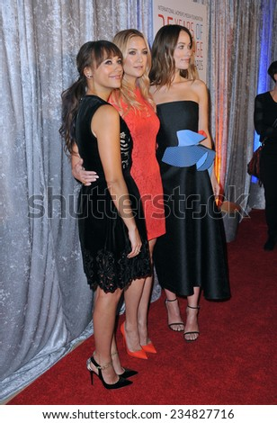LOS ANGELES, CA - OCTOBER 28, 2014: Rashida Jones (left), Kate Hudson & Olivia Wilde at the 25th Courage in Journalism Awards at the Beverly Hilton Hotel.  - stock photo