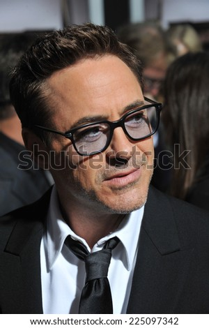 "LOS ANGELES, CA - OCTOBER 1, 2014: Robert Downey Jr at the Los Angeles premiere of his movie ""The Judge"" at the Samuel Goldwyn Theatre, Beverly Hills.  - stock photo"