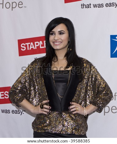 LOS ANGELES, CA - OCTOBER 25: Singer Demi Lovato arrives for Disney's 2nd Annual Concert For Hope at the Nokia Theatre on October 25, 2009 in Los Angeles, California - stock photo