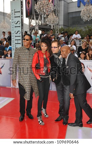 "LOS ANGELES, CA - OCTOBER 27, 2009: Singer Judith Hall & Michael Jackson's backup singers at the premiere of Michael Jackson's ""This Is It"" at the Nokia Theatre, L.A. Live. - stock photo"
