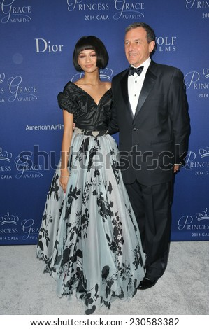 LOS ANGELES, CA - OCTOBER 8, 2014: Zendaya Coleman & Walt Disney president Robert A. Iger at the 2014 Princess Grace Awards Gala at the Beverly Wilshire Hotel, Beverly Hills.