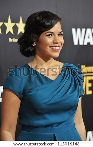 "LOS ANGELES, CA - SEPTEMBER 17, 2012: America Ferrera at the premiere of her movie ""End of Watch"" at the Regal Cinemas LA Live. - stock photo"