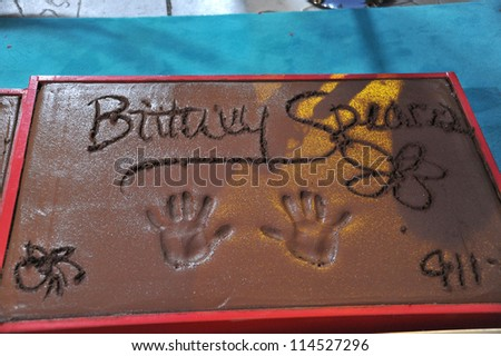 LOS ANGELES, CA - SEPTEMBER 11, 2012: Britney Spears' Handprints at Grauman's Chinese Theatre, Hollywood, where the judges for X Factor USA were honored. - stock photo