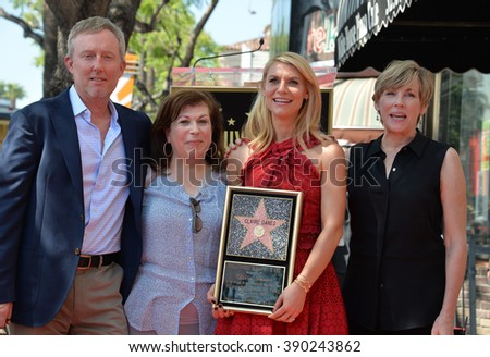 LOS ANGELES, CA - SEPTEMBER 24, 2015: Claire Danes & producer Alex Gansa, writer/actress Winnie Holzman & actress Bess Armstrong at Danes' star ceremony on the Hollywood Walk of Fame. - stock photo