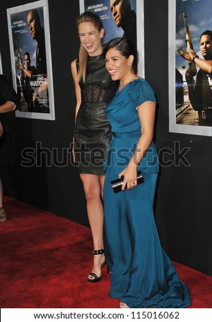 "LOS ANGELES, CA - SEPTEMBER 17, 2012: Cody Horn & America Ferrera (right) at the premiere of their movie ""End of Watch"" at the Regal Cinemas LA Live. - stock photo"